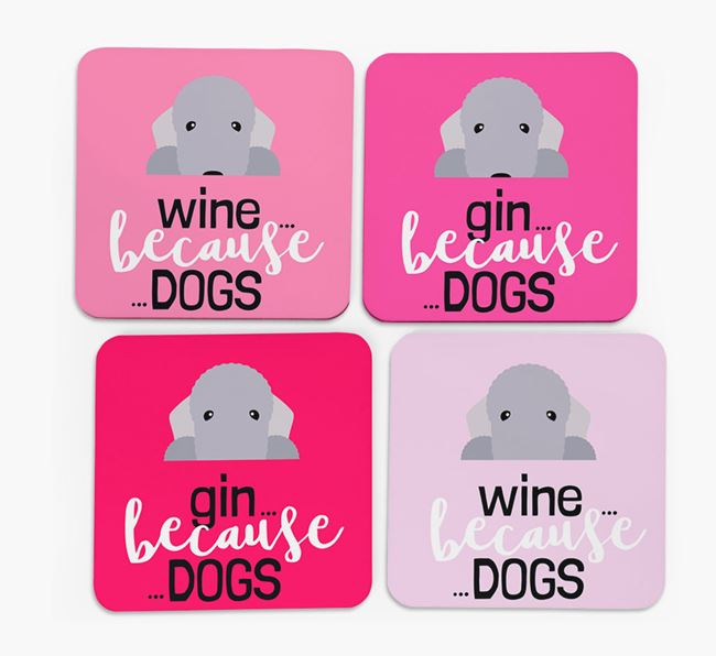 'Wine/Gin Because...Dogs' Coasters with Bedlington Terrier icon - Set of 4