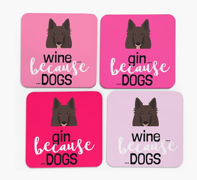 'Wine/Gin Because...Dogs' Coasters with Belgian Groenendael icon - Set of 4