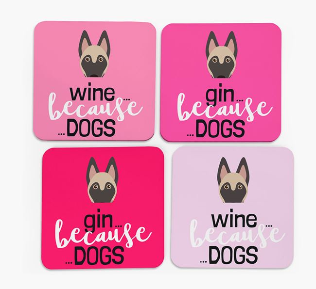 'Wine/Gin Because...Dogs' Coasters with Belgian Malinois icon - Set of 4