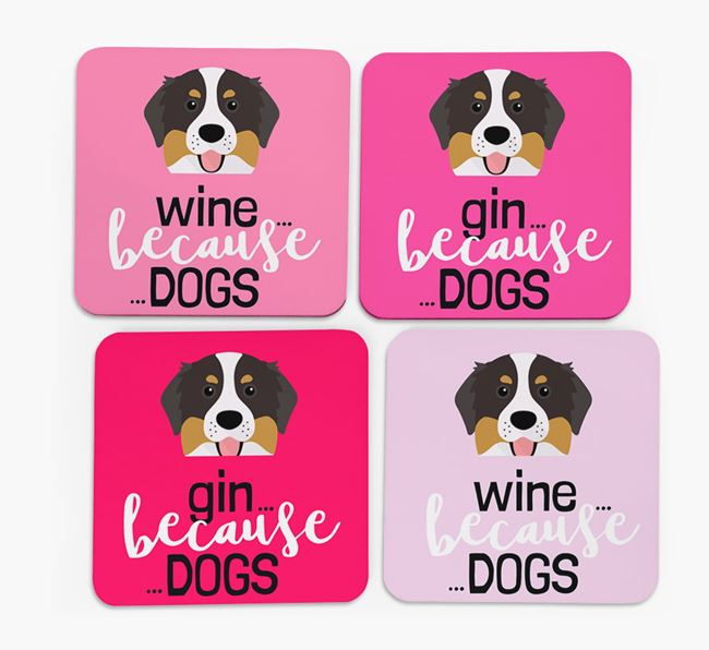 'Wine/Gin Because...Dogs' Coasters with Bernese Mountain Dog icon - Set of 4