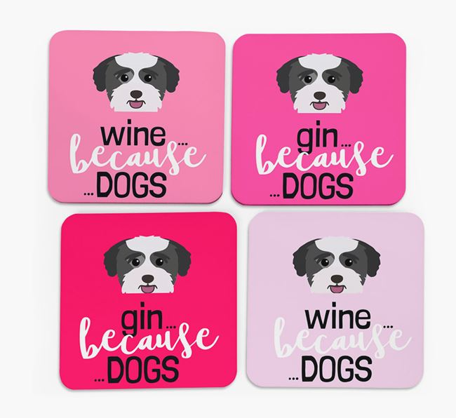 'Wine/Gin Because...Dogs' Coasters with Bichon Yorkie icon - Set of 4