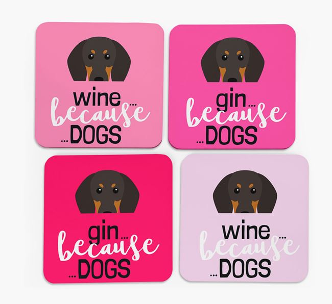 'Wine/Gin Because...Dogs' Coasters with Black and Tan Coonhound icon - Set of 4