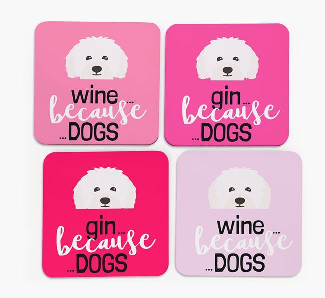 'Wine/Gin Because...Dogs' Coasters with Bolognese icon - Set of 4
