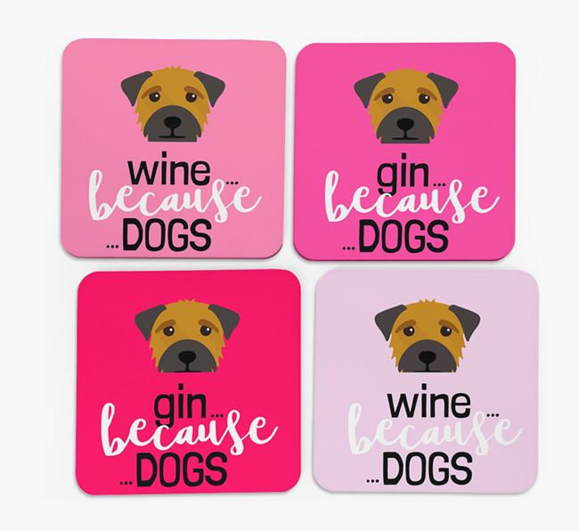 'Wine/Gin Because...Dogs' Coasters with Border Terrier icon - Set of 4