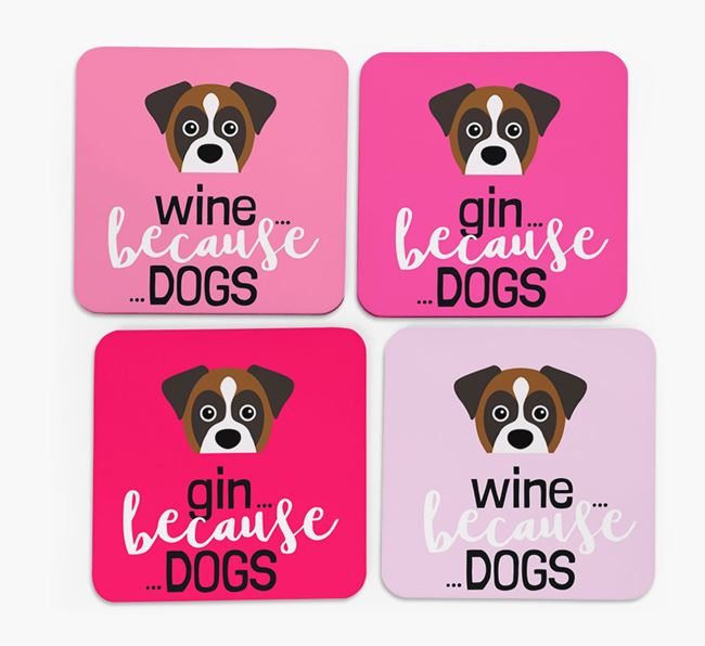 'Wine/Gin Because...Dogs' Coasters with Boxer icon - Set of 4