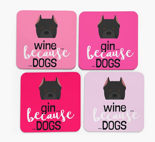 'Wine/Gin Because...Dogs' Coasters with Cane Corso Italiano icon - Set of 4
