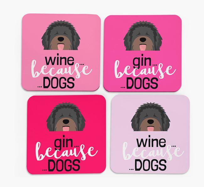 'Wine/Gin Because...Dogs' Coasters with Catalan Sheepdog icon - Set of 4