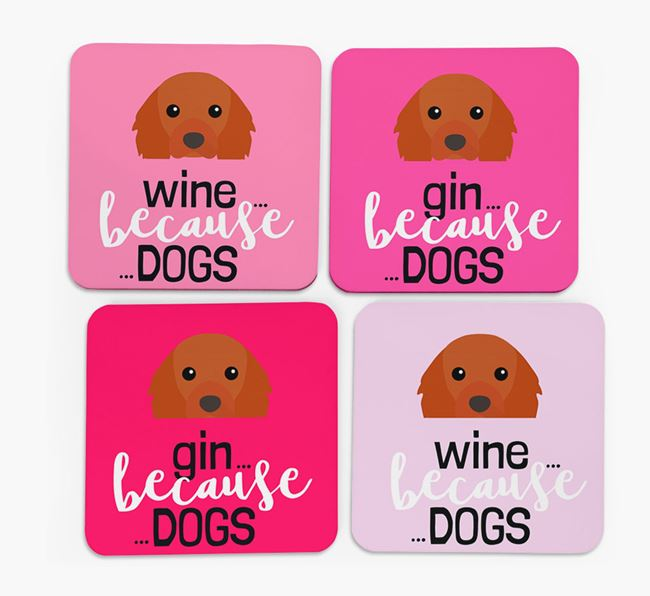 'Wine/Gin Because...Dogs' Coasters with Cavalier King Charles Spaniel icon - Set of 4