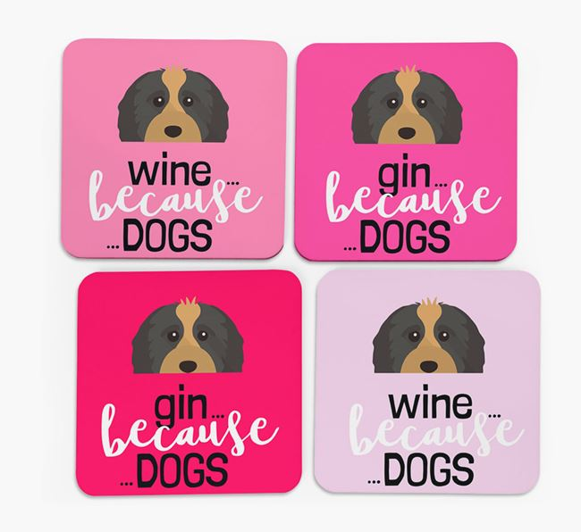 'Wine/Gin Because...Dogs' Coasters with Cavapoo icon - Set of 4
