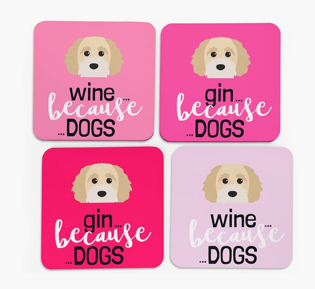 'Wine/Gin Because...Dogs' Coasters with Cavapoochon icon - Set of 4