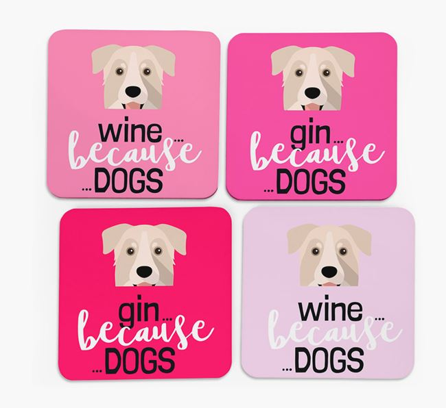 'Wine/Gin Because...Dogs' Coasters with Chinook icon - Set of 4
