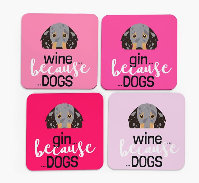'Wine/Gin Because...Dogs' Coasters with Dachshund icon - Set of 4