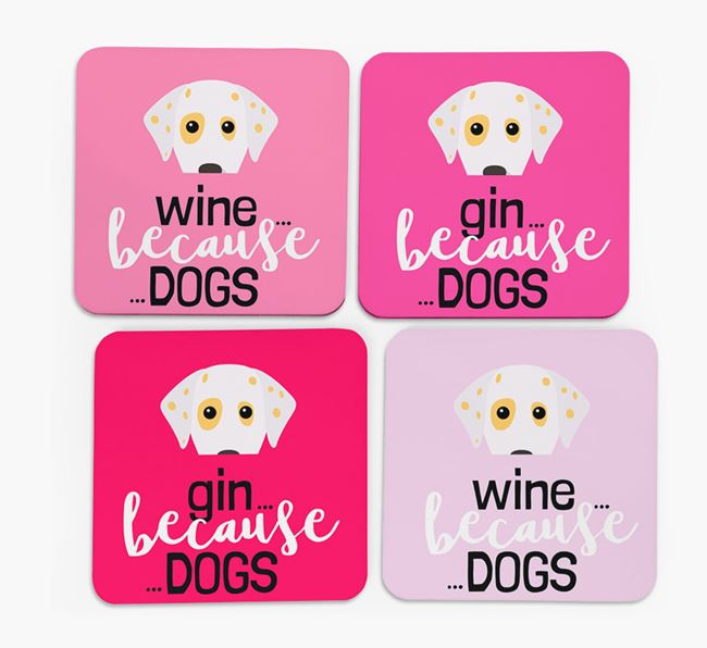 'Wine/Gin Because...Dogs' Coasters with Dalmatian icon - Set of 4