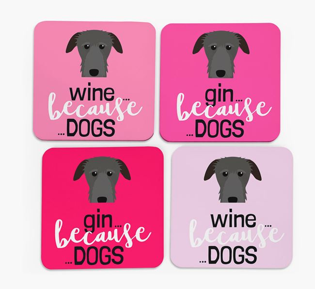 'Wine/Gin Because...Dogs' Coasters with Deerhound icon - Set of 4
