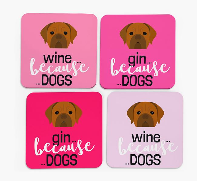'Wine/Gin Because...Dogs' Coasters with Dogue de Bordeaux icon - Set of 4