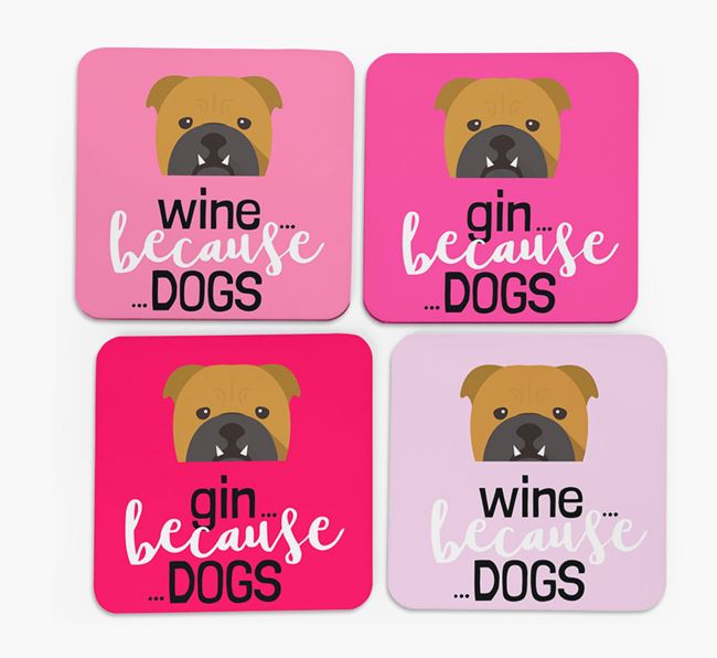 'Wine/Gin Because...Dogs' Coasters with English Bulldog icon - Set of 4