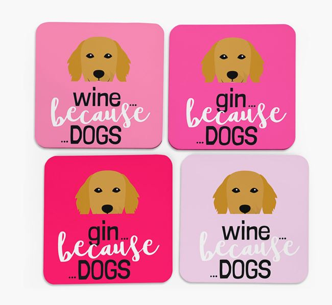 'Wine/Gin Because...Dogs' Coasters with Flat-Coated Retriever icon - Set of 4