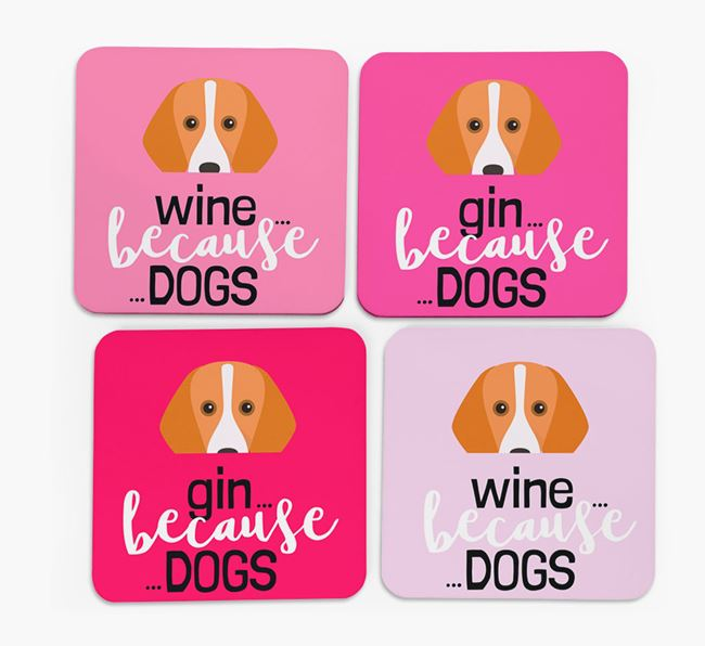'Wine/Gin Because...Dogs' Coasters with Foxhound icon - Set of 4