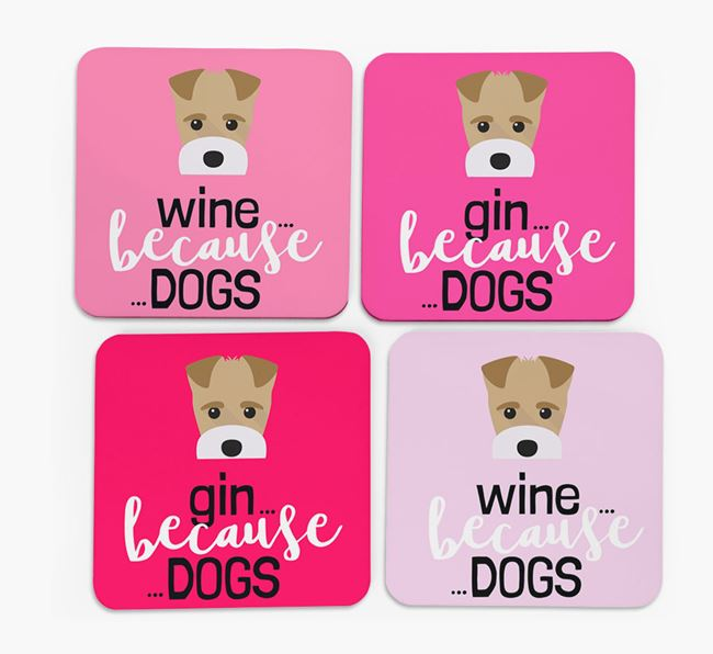 'Wine/Gin Because...Dogs' Coasters with Fox Terrier icon - Set of 4