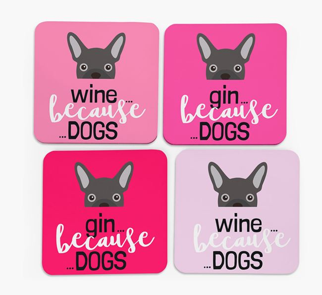 'Wine/Gin Because...Dogs' Coasters with French Bulldog icon - Set of 4