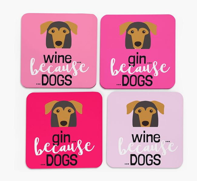 'Wine/Gin Because...Dogs' Coasters with German Sheprador icon - Set of 4