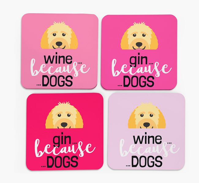 'Wine/Gin Because...Dogs' Coasters with Goldendoodle icon - Set of 4