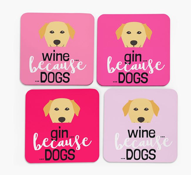 'Wine/Gin Because...Dogs' Coasters with Golden Labrador icon - Set of 4