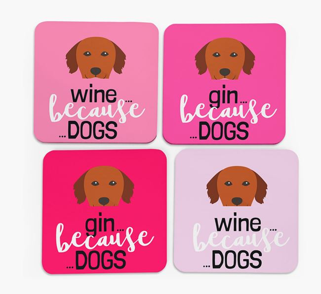 'Wine/Gin Because...Dogs' Coasters with Golden Retriever icon - Set of 4