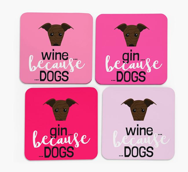 'Wine/Gin Because...Dogs' Coasters with Greyhound icon - Set of 4
