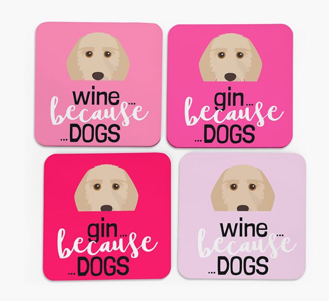 'Wine/Gin Because...Dogs' Coasters with Griffon Fauve De Bretagne icon - Set of 4
