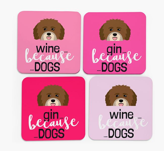 'Wine/Gin Because...Dogs' Coasters with Havanese icon - Set of 4