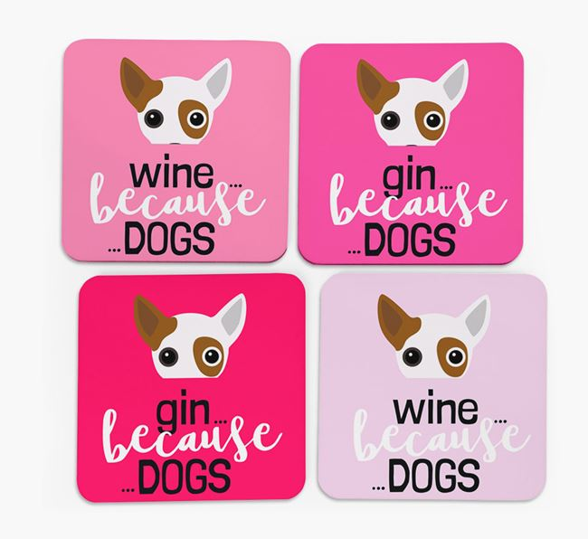 'Wine/Gin Because...Dogs' Coasters with Jackahuahua icon - Set of 4