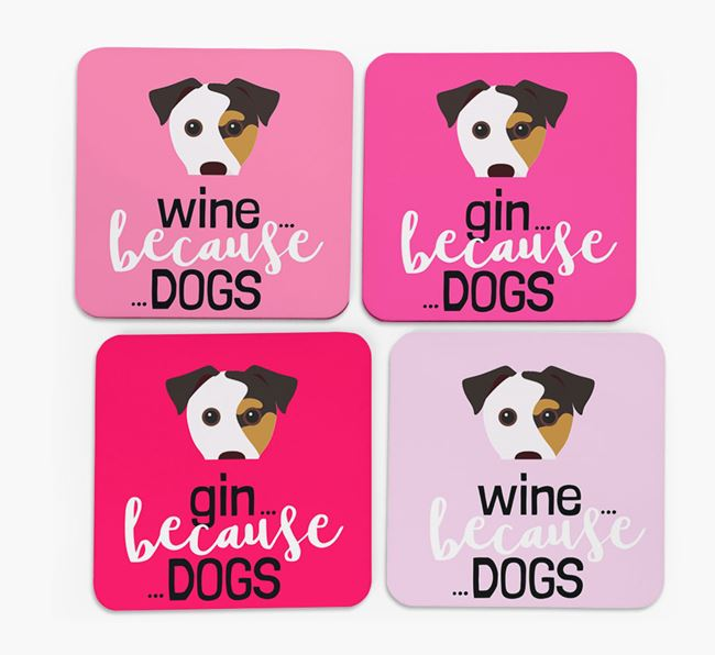'Wine/Gin Because...Dogs' Coasters with Jack Russell Terrier icon - Set of 4