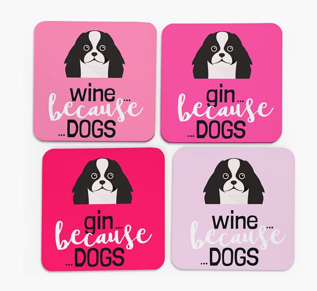 'Wine/Gin Because...Dogs' Coasters with Japanese Chin icon - Set of 4
