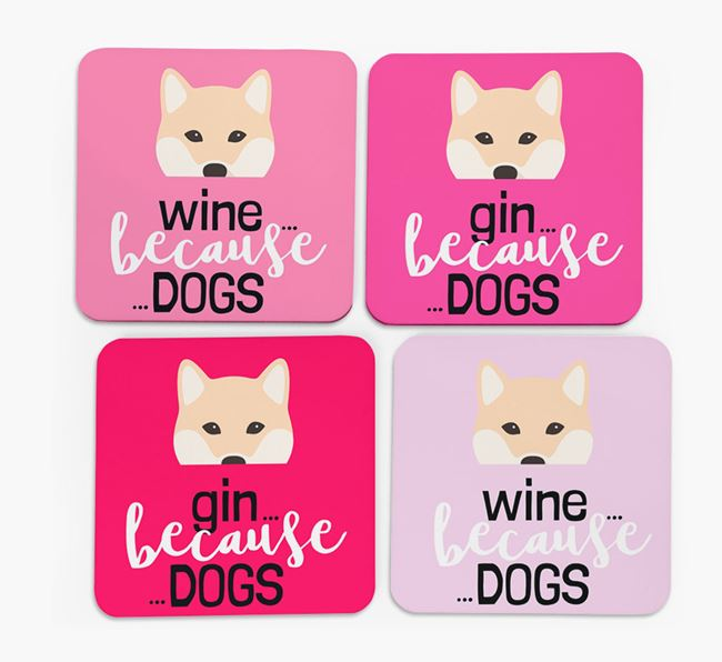 'Wine/Gin Because...Dogs' Coasters with Japanese Shiba icon - Set of 4