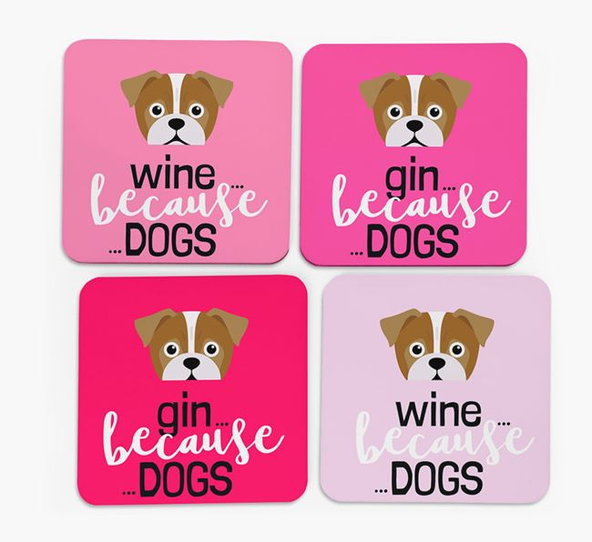 'Wine/Gin Because...Dogs' Coasters with Jug icon - Set of 4