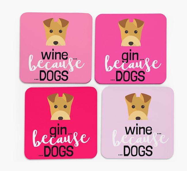 'Wine/Gin Because...Dogs' Coasters with Lakeland Terrier icon - Set of 4
