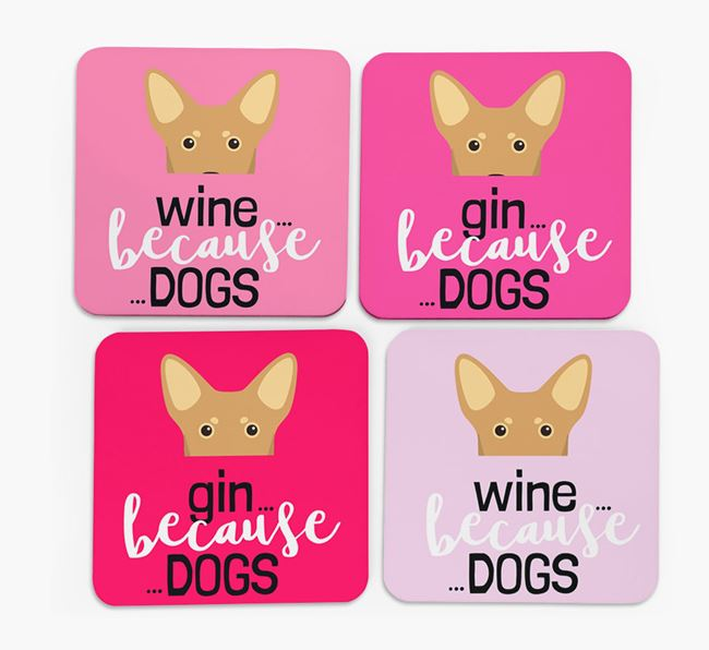 'Wine/Gin Because...Dogs' Coasters with Lancashire Heeler icon - Set of 4