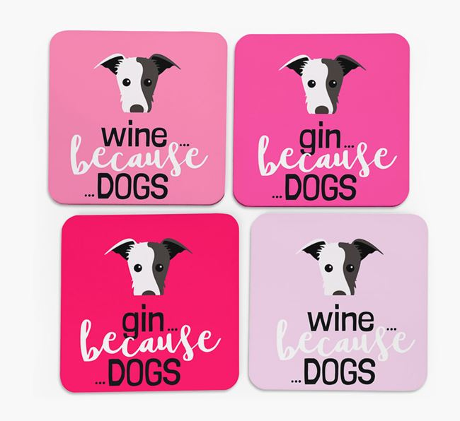 'Wine/Gin Because...Dogs' Coasters with Lurcher icon - Set of 4