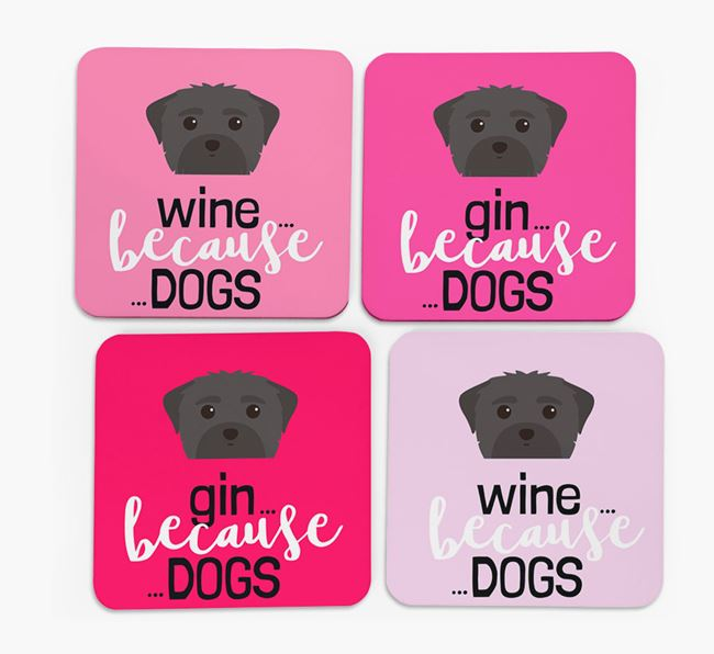 'Wine/Gin Because...Dogs' Coasters with Maltese icon - Set of 4