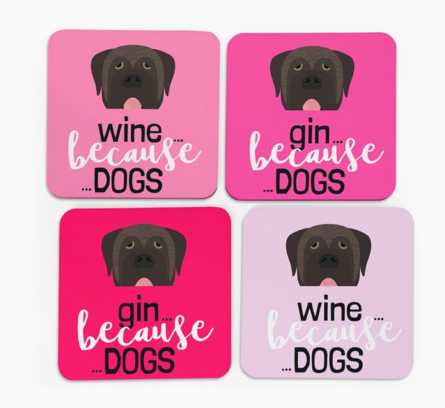 'Wine/Gin Because...Dogs' Coasters with Mastiff icon - Set of 4