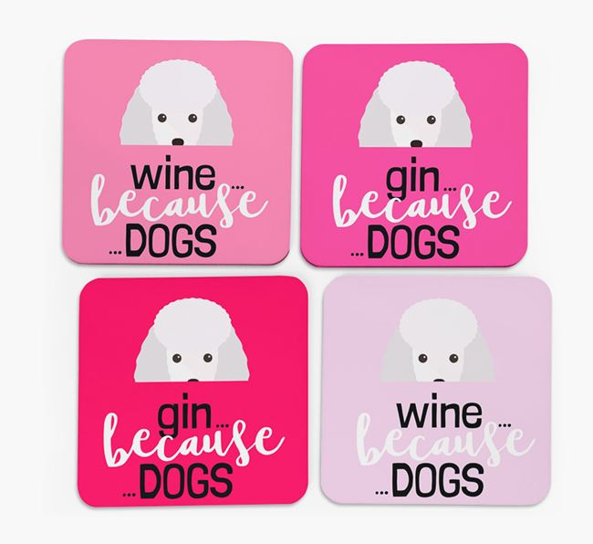 'Wine/Gin Because...Dogs' Coasters with Miniature Poodle icon - Set of 4