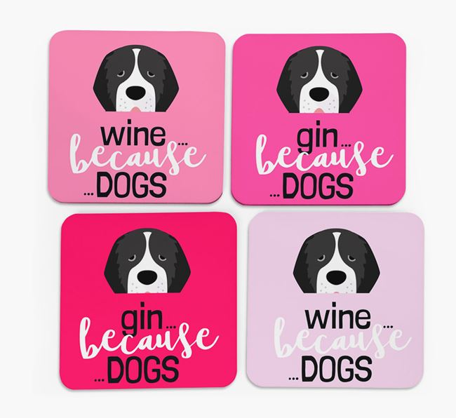 'Wine/Gin Because...Dogs' Coasters with Newfoundland icon - Set of 4