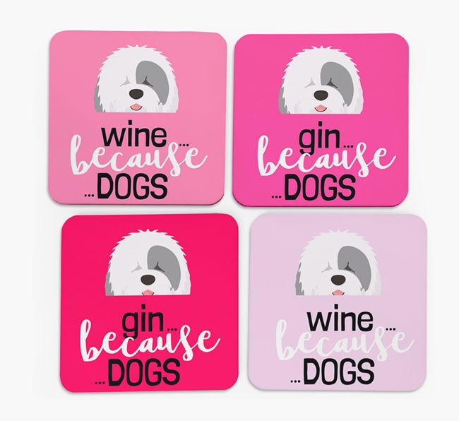 'Wine/Gin Because...Dogs' Coasters with Old English Sheepdog icon - Set of 4