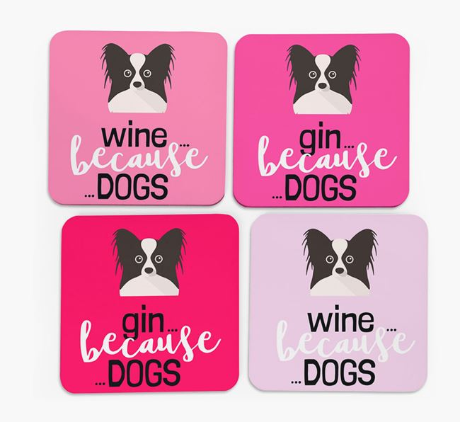 'Wine/Gin Because...Dogs' Coasters with Papillon icon - Set of 4