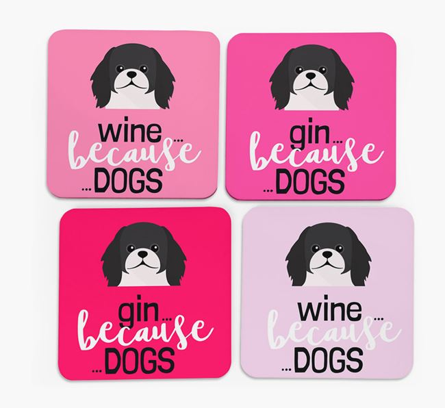 'Wine/Gin Because...Dogs' Coasters with Pekingese icon - Set of 4