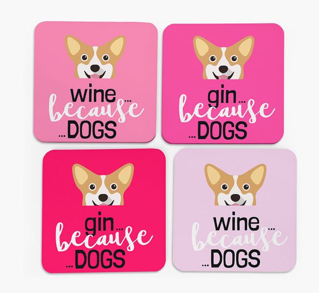 'Wine/Gin Because...Dogs' Coasters with Pembroke Welsh Corgi icon - Set of 4