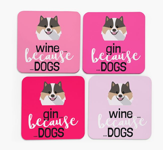 'Wine/Gin Because...Dogs' Coasters with Pomeranian icon - Set of 4