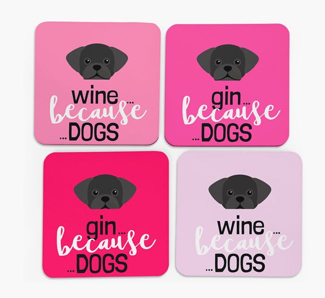 'Wine/Gin Because...Dogs' Coasters with Puggle icon - Set of 4