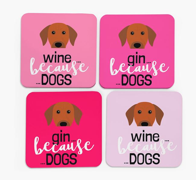 'Wine/Gin Because...Dogs' Coasters with Rhodesian Ridgeback icon - Set of 4